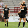 "University of Colorado's Lauren Shaner gets a hug from teammate Amy Barczuk, No. 10, while Kate Russell, No. 13, watches after scoring a goal during a soccer game against Colorado College on Friday, Aug. 19, at the University of Denver. CU won the game 5-0. For more photos of the game go to  <a href=""http://www.dailycamera.com"">http://www.dailycamera.com</a><br />  Jeremy Papasso/ Camera"
