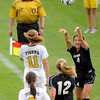 "University of Colorado's Amy Steiner throws the ball to a teammate during a soccer game against Colorado College on Friday, Aug. 19, at the University of Denver. CU won the game 5-0. For more photos of the game go to  <a href=""http://www.dailycamera.com"">http://www.dailycamera.com</a><br />  Jeremy Papasso/ Camera"
