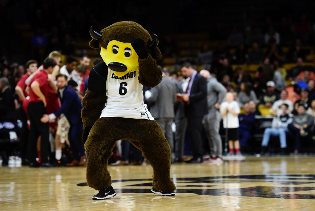 . Chip dances during a time-out in the game between University of Colorado and Stanford at the Coors Event Center in Boulder, Colorado on Feb. 11, 2018. (Photo by Matthew Jonas/Staff Photographer)