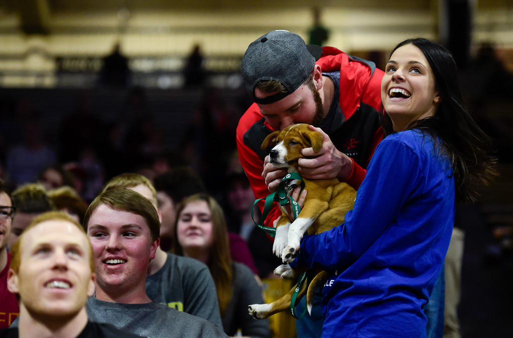 . A spectator kisses a puppy held by a Boulder Humane Society volunteer during the University of Colorado and Stanford game at the Coors Event Center in Boulder, Colorado on Feb. 11, 2018. (Photo by Matthew Jonas/Staff Photographer)