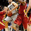 CUIOWA<br /> CU's Marcus Relphorde tries to get past Melvin Ejim of Iowa State.<br /> Photo by Marty Caivano/Feb.1, 2011