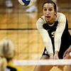 Colorado's Megan Beckwith bumps the ball after a serve from Missouri during their volleyball game at the University of Colorado in Boulder, Colorado November 3, 2010. CAMERA/Mark Leffingwell