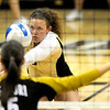 Colorado's Richi Bigelow bumps up the ball on a serve from Missouri during their volleyball game at the University of Colorado in Boulder, Colorado November 3, 2010. CAMERA/Mark Leffingwell