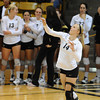 VOLLEY<br /> CU's Emily Alexis serves against Washington State.<br /> <br /> <br /> PHOTO BY MARTY CAIVANO<br /> Nov. 18, 2011