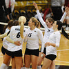 VOLLEY<br /> CU's volleyball team celebrates a match win against Washington State.<br /> <br /> <br /> PHOTO BY MARTY CAIVANO<br /> Nov. 18, 2011