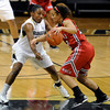 "University of Colorado's Kyleesha Weston tries to steal the ball from Desiree Smith during an exhibition game against Western State on Friday, Nov. 2, at the Coors Event Center in Boulder. CU won 87-38. For more photos of the game go to  <a href=""http://www.dailycamera.com"">http://www.dailycamera.com</a><br /> Jeremy Papasso/ Camera"