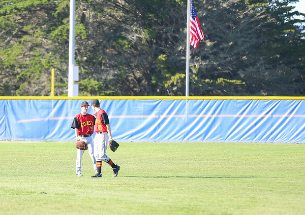 2019 CUHS Baseball - vs MB - Nate and David outfield-50
