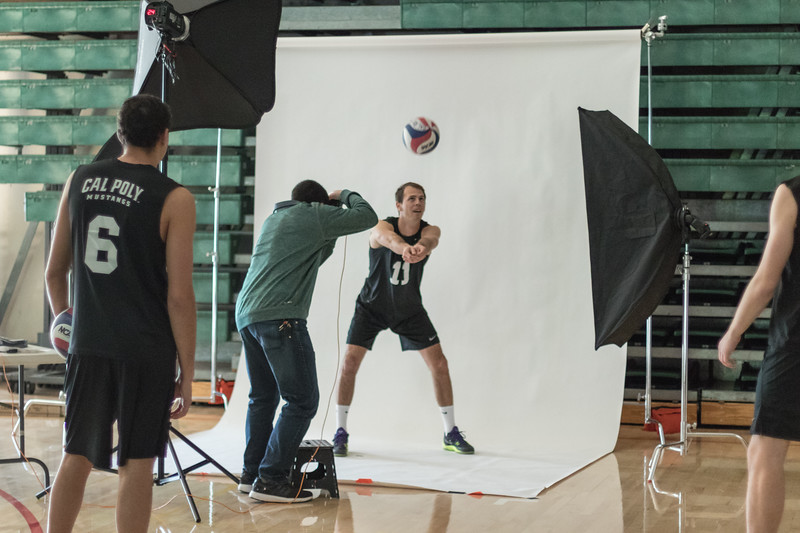 Club Sports Photoshoot with Men's Volleyball Club.  Alexander Bohlen's Senior Project BTS.   Photo by Amber Chiang
