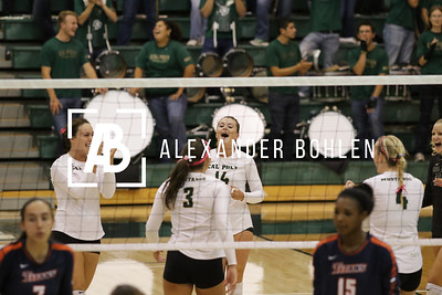 Cal Poly Women's Volleyball defeats Cal State Fullerton in Set 3 by 25-21. Game at Mott gym on October 16th, 2015. Photo by Alexander Bohlen.