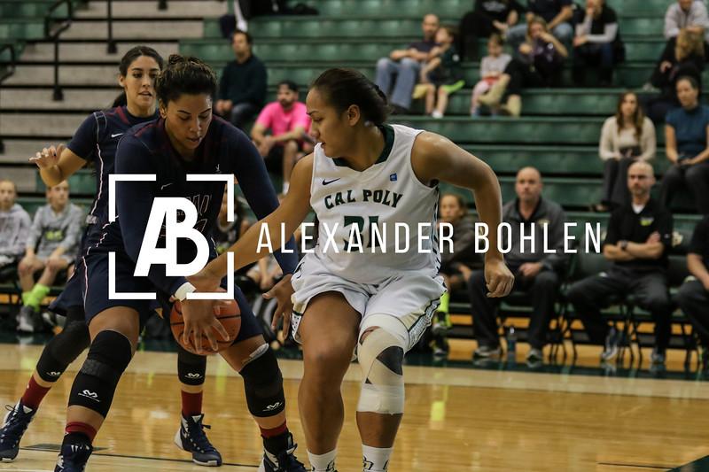 Cal Poly Women's Basketball goes against LMU in Mott Gym on December 12th, 2015. Photos by Alexander Bohlen