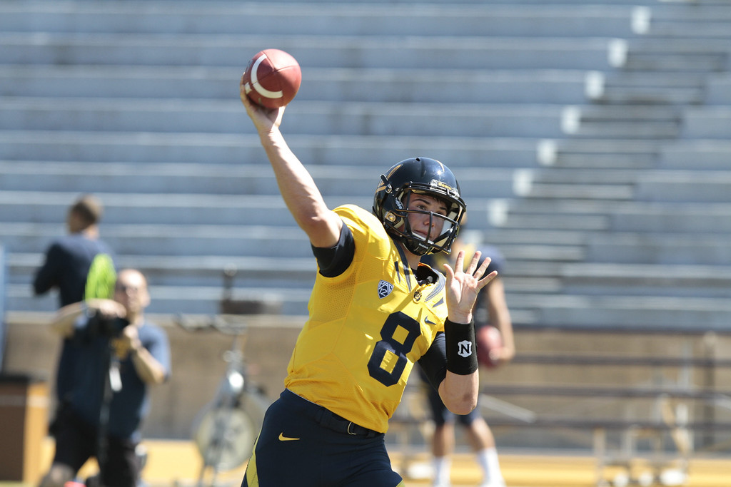 Quarterback Zach Kline throws during the Cal Football Spring practice at Edwards Stadium in Berkeley, Calif. on Saturday, April 21st, 2012.