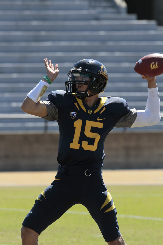 Quarterback Zach Maynard throws during the Cal Football Spring practice at Edwards Stadium in Berkeley, Calif. on Saturday, April 21st, 2012.