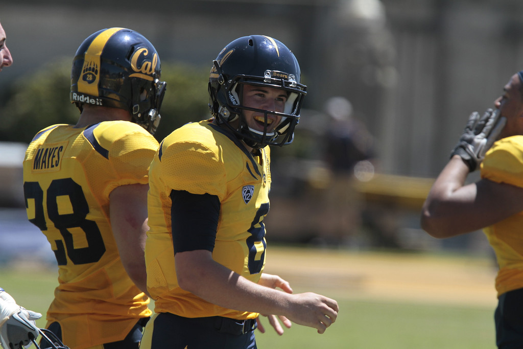 Quarterback Zach Kline celebrates after throwing a touchdown pass during the Cal Football Spring practice at Edwards Stadium in Berkeley, Calif. on Saturday, April 21st, 2012.