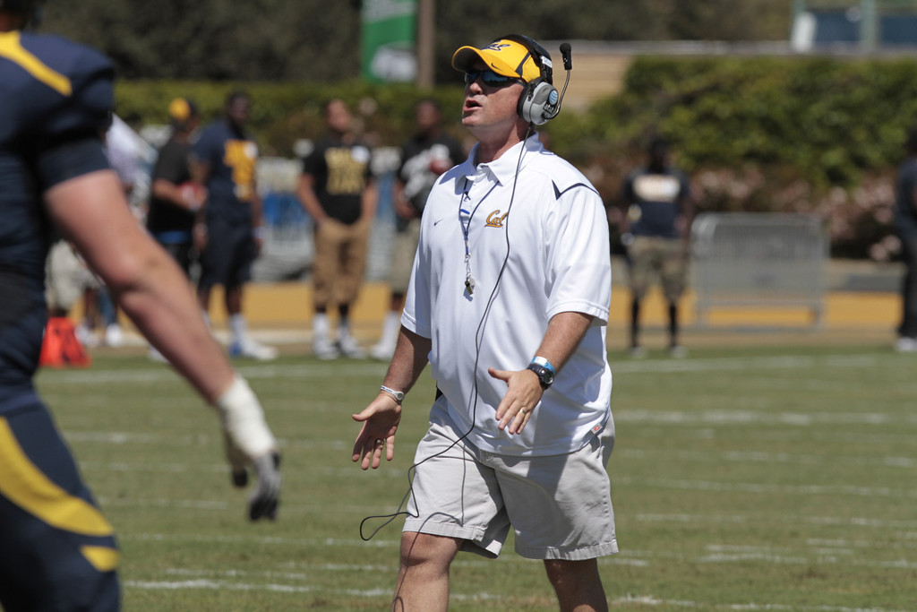 Head coach Jeff Tedford talks to the players during the Cal Football Spring practice at Edwards Stadium in Berkeley, Calif. on Saturday, April 21st, 2012.