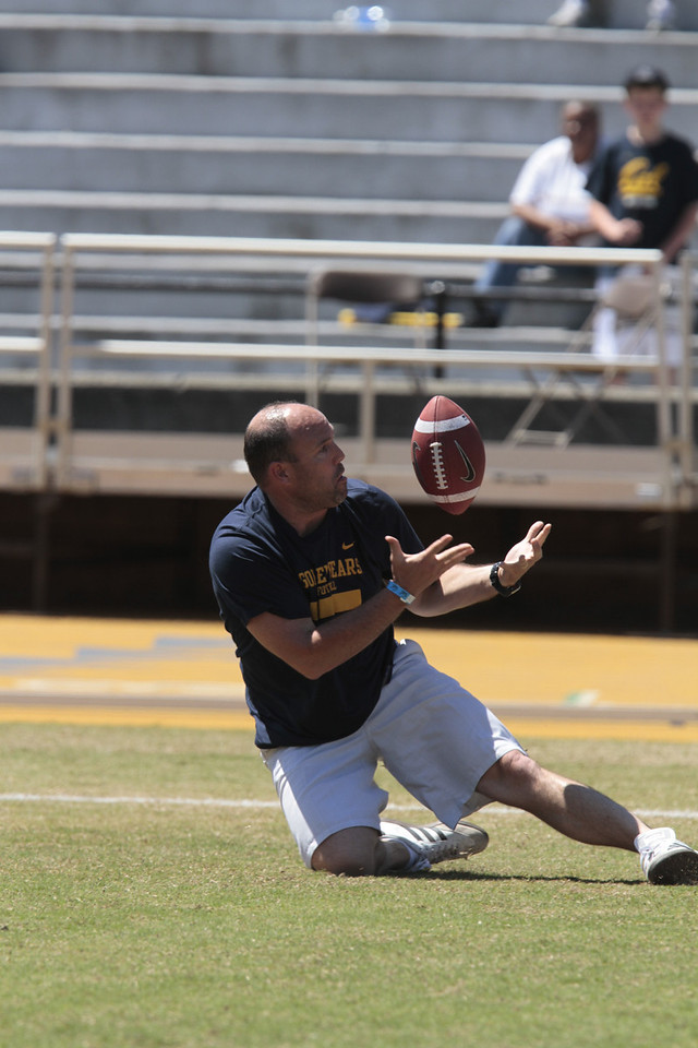 Bruce Denny catches a touchdown pass from quarterback Zach Maynard during a break during the Cal Football Spring practice at Edwards Stadium in Berkeley, Calif. on Saturday, April 21st, 2012. He got to keep the ball if he caught the pass.