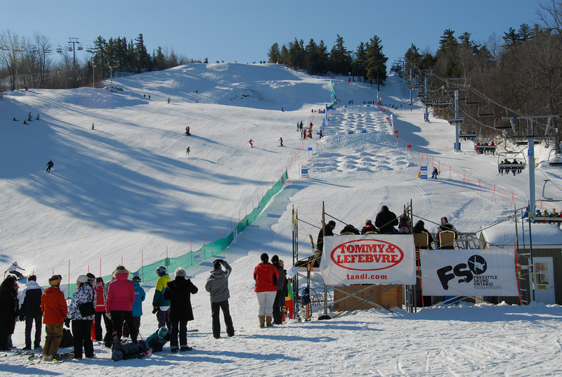 Feb 4 - The Timber Tour regional competition at Calabogie. Today is the mogul competition where Dennis threw a huge back flip.