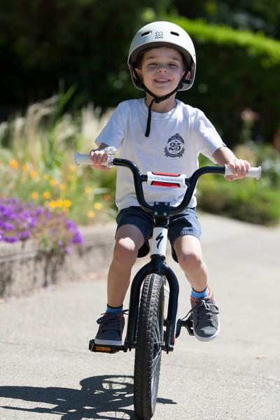 Caleb out on his bike