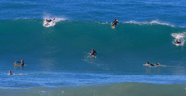 On Saturday Dec 12 the wave sizes relegated the newer surfers to the beach as observers only. I talked to several who did trust themselves in these conditions.