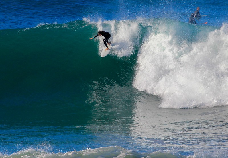 It was often that surfers had to get near vertical to catch due to the shape of the waves.