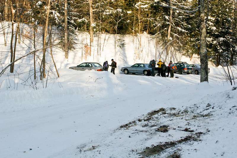 The Camel's Hump winter parking lot.  Backcountry skiers and snowshoers gear up for a cold day on the mountain.
