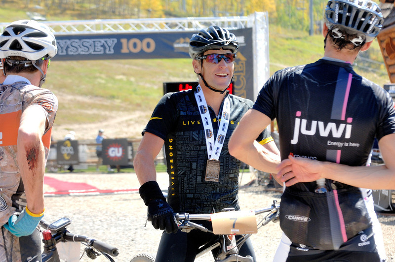 Alpine Odyssey 2012 - After the race - ( Left : John Gaston 3rd , Right : Greg Krause : 2nd , Middle : Lance Armstrong 5th )