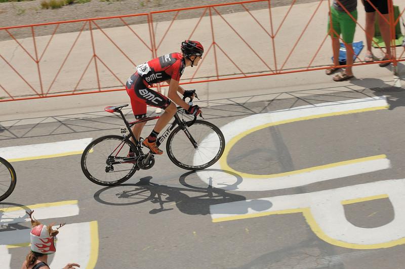Tejay Van Garderen taking off to win in Mt Crested-Butte ....Christian Van de Velde wheel appearing  on left ...