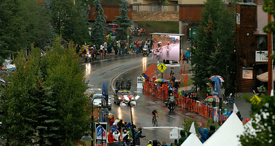 Heavy rain, thunder , lightning ....Robin Carpenter  climbing to the finishing line  and winning th 2nd stage . of the  Usa Pro Cycling Challenge  in Mt Crested-Butte Co