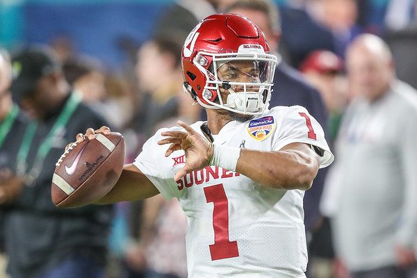 Quarterback Kyler Murray (1) of the Oklahoma Sooners warms up during the 2018 Capital One Orange Bowl at Hard Rock Stadium on December 29, 2018 in Miami Gardens, Florida.