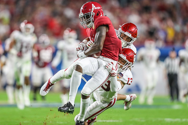 Wide receiver Jerry Jeudy (4) of the Alabama Crimson Tide during the 2018 Capital One Orange Bowl at Hard Rock Stadium on December 29, 2018 in Miami Gardens, Florida.