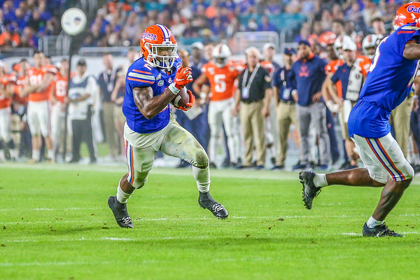 Miami Gardens, Florida-December 30, 2019:  Florida Gators running back Lamical Perine (2)   during the Capital One Orange Bowl at Hard Rock Stadium on December 30, 2019 in Miami Gardens, Florida.