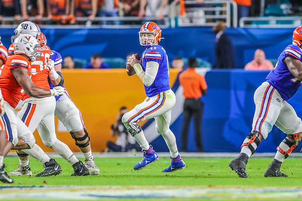Miami Gardens, Florida-December 30, 2019: Florida Gators quarterback Kyle Trask (11) during the Capital One Orange Bowl at Hard Rock Stadium on December 30, 2019 in Miami Gardens, Florida.