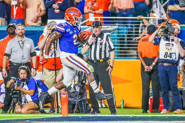 Miami Gardens, Florida-December 30, 2019:  Florida Gators wide receiver Dionte Marks (22) during the Capital One Orange Bowl at Hard Rock Stadium on December 30, 2019 in Miami Gardens, Florida.
