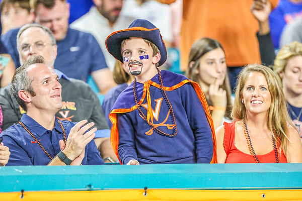 Miami Gardens, Florida-December 30, 2019: University of Virginia fan during the Capital One Orange Bowl at Hard Rock Stadium on December 30, 2019 in Miami Gardens, Florida.
