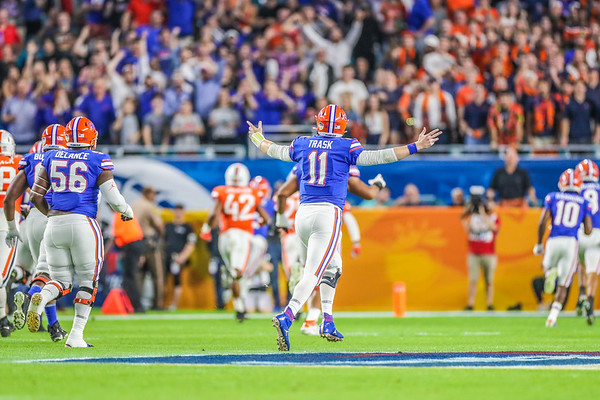 Miami Gardens, Florida-December 30, 2019: Florida Gators quarterback Kyle Trask (11)during the Capital One Orange Bowl at Hard Rock Stadium on December 30, 2019 in Miami Gardens, Florida.