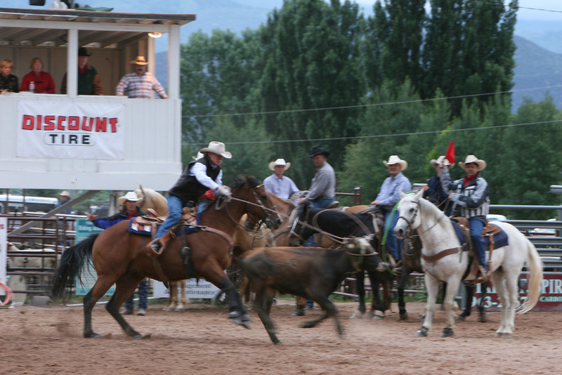 Max magdanal makes a catch in the team roping at the carbondale wildwest rodeo