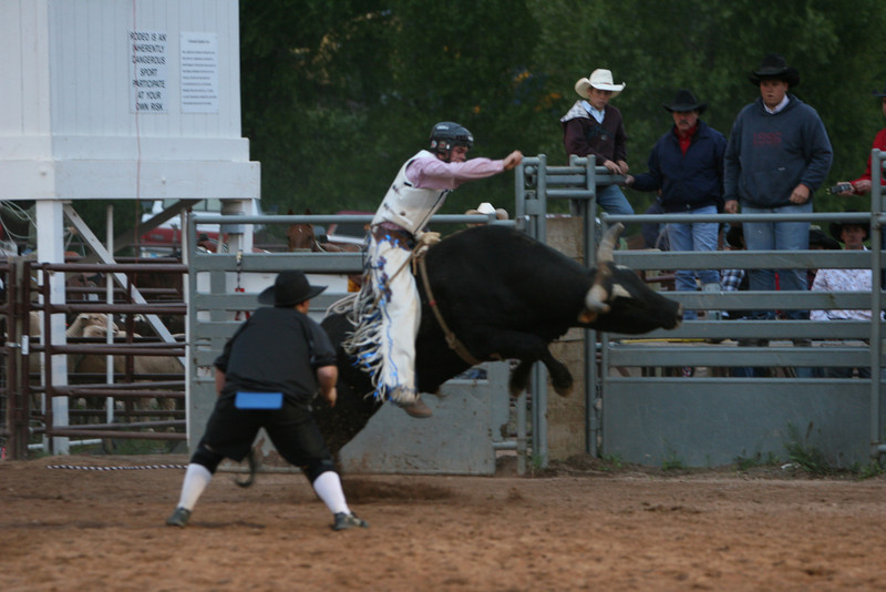jesse fortnor rides his bull at the carbondale wildwest rodeo