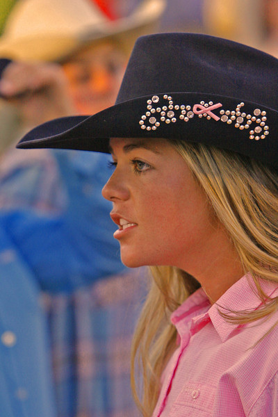Pink was the color this week. This cowgirl supports the cause.
