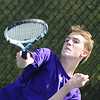 Globe/T. Rob Brown<br /> Thomas Jefferson No. 2 singles Preston Carpenter serves the ball to Carl Junction's Andy Gloshen Wednesday afternoon, May 8, 2013, at Millenium Tennis & Fitness in Joplin.