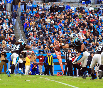 2012 December 23:  (1) Cam Newton, Quarterback  fakes a hand off during the Carolina Panthers vs Oakland Raiders game at Bank Of America Stadium in Charlotte NC.