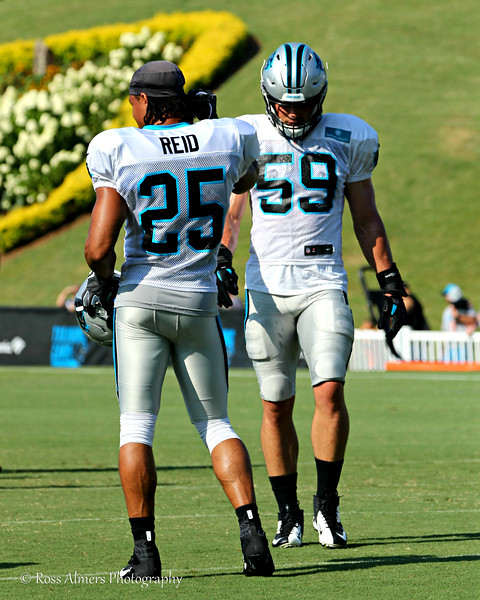 Carolina Panthers #25 Eric Reid and #59 Luke Kuechly