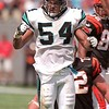 9/26/99 Panthers #54 Donta' Jones, gets pumped up during the 2nd quarter of Sunday's home game against the Cincinnati Bengals.