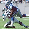 10/24/99  Carolina Panthers Wesley Walls #85 catches one of several 1st quarter passes.  This one against Detroit's #50 Chris Claiborne.