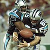 10/03/99:  Landover,MD:  Carolina Panthers Wesley Walls celebrates with teammate Tshimanga Biakabutuka after Wesley scored a fourth quarter touchdown Sunday night against the Redskins. Washington went on to beat Carolina 38-36.