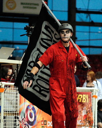 Evil Ed, the cheerleader for the Carolina Roller Girls.<br /> Dorton Arena<br /> Raleigh, NC<br /> May 18, 2008