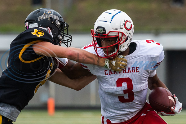 Carthage's Kelvontay Dixon (3) evades a Crandall defender during playoff action Friday, Nov. 29, 2019, at Chirstus Trinity Mother Frances Rose Stadium in Tyler. (Cara Campbell/Tyler Morning Telegraph)
