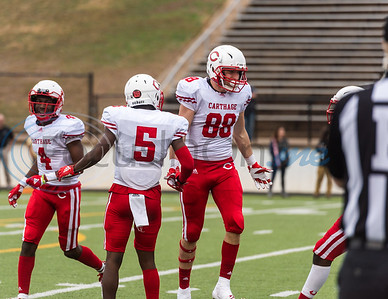 Carthage's Hunter Dubose (88) and De'Aundrey Bowman (5) celebrate following a play during playoff action against Crandall Friday, Nov. 29, 2019, at Chirstus Trinity Mother Frances Rose Stadium in Tyler. (Cara Campbell/Tyler Morning Telegraph)