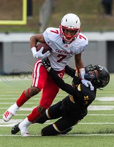 Carthage's Kel Williams (7) attempts to evade Crandall's Jeremiah Contreras (16) during playoff action Friday, Nov. 29, 2019, at Chirstus Trinity Mother Frances Rose Stadium in Tyler. (Cara Campbell/Tyler Morning Telegraph)