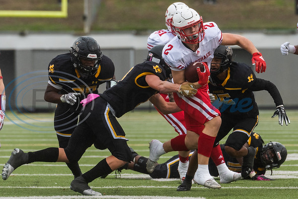 Carthage's Mason Courtney (2) evades a Crandall defender during playoff action Friday, Nov. 29, 2019, at Chirstus Trinity Mother Frances Rose Stadium in Tyler. (Cara Campbell/Tyler Morning Telegraph)