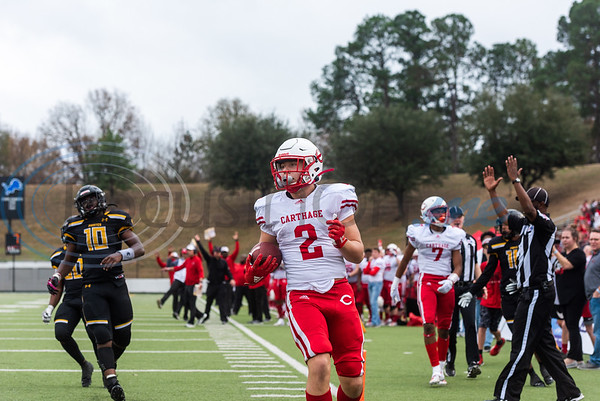 Carthage's Mason Courtney (2) runs into the end zone for a touchdown during playoff action against Crandall Friday, Nov. 29, 2019, at Chirstus Trinity Mother Frances Rose Stadium in Tyler. (Cara Campbell/Tyler Morning Telegraph)