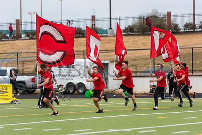 Carthage flag runners run across the end zone following a touchdown during playoff action Crandall Friday, Nov. 29, 2019, at Chirstus Trinity Mother Frances Rose Stadium in Tyler. (Cara Campbell/Tyler Morning Telegraph)